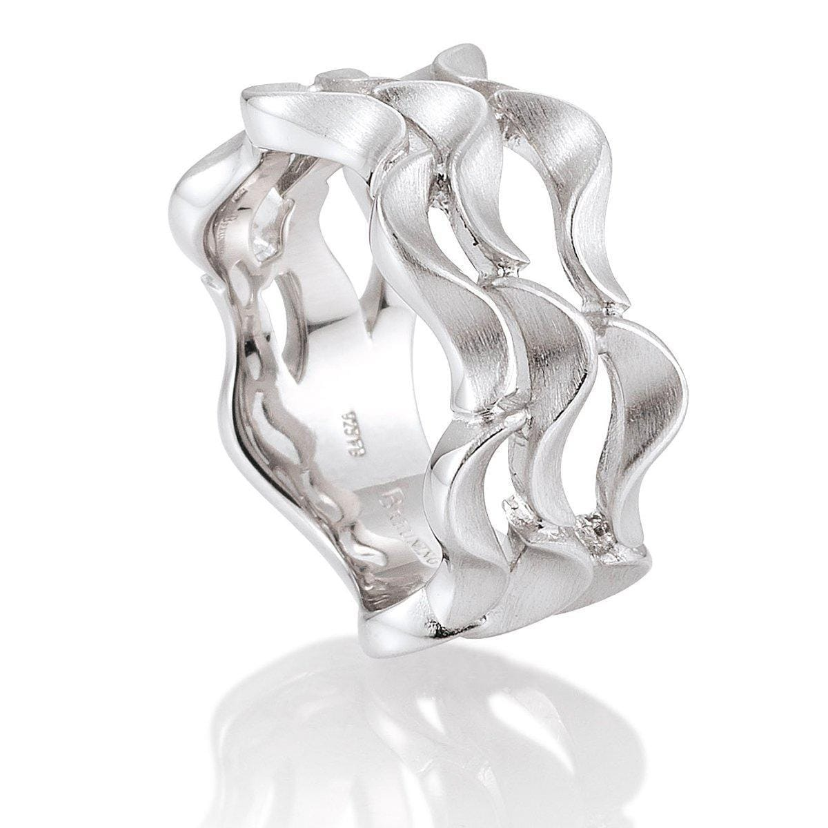 Rhodium Plated Sterling Silver Ring - 44/01480-Breuning-Renee Taylor Gallery