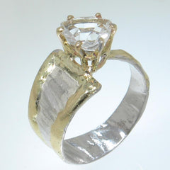14K Gold & Crystalline Silver White Topaz Ring - 30564-Fusion Designs-Renee Taylor Gallery