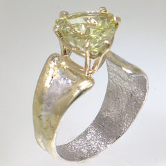 14K Gold & Crystalline Silver Margarita Quartz Ring - 30568-Fusion Designs-Renee Taylor Gallery