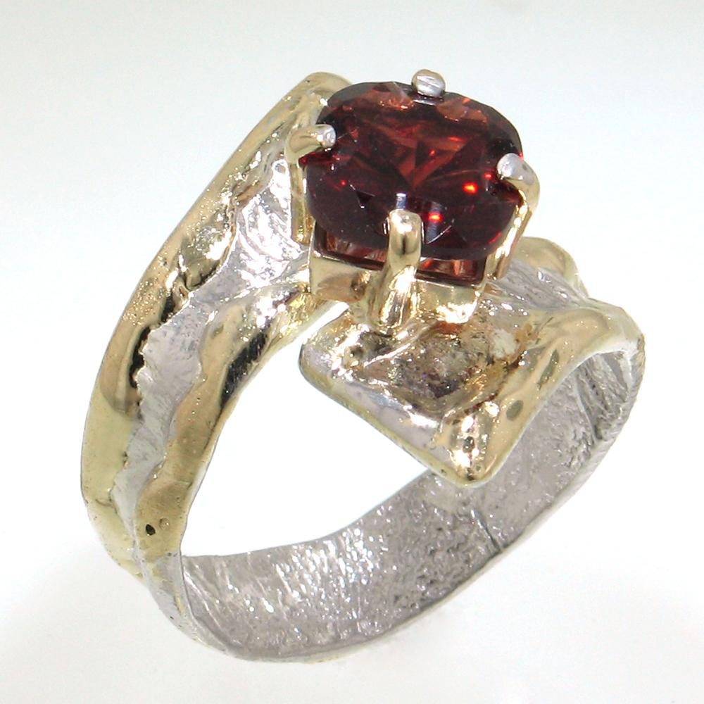 14K Gold & Crystalline Silver Garnet Ring - 30576