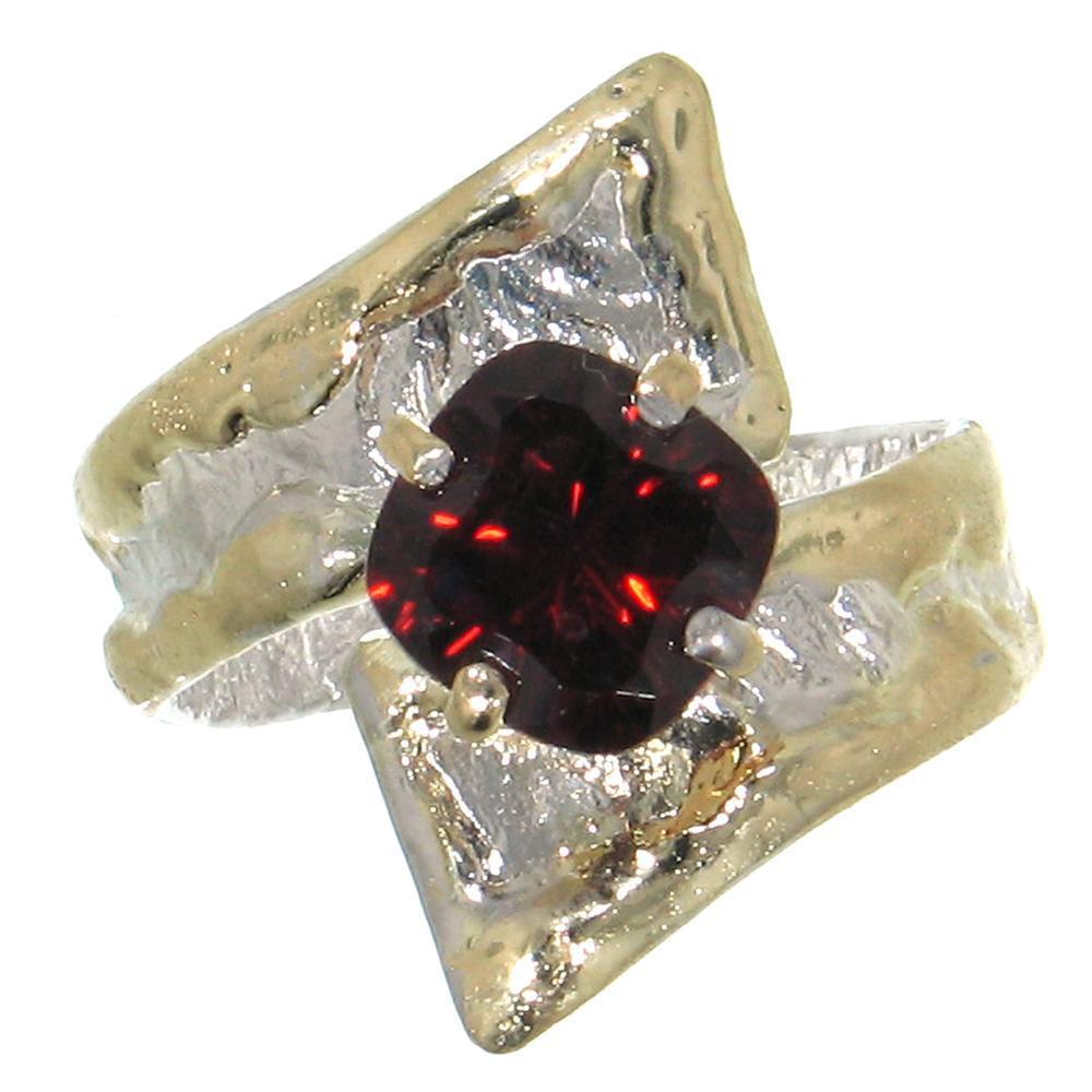 14K Gold & Crystalline Silver Garnet Ring - 30576-Fusion Designs-Renee Taylor Gallery