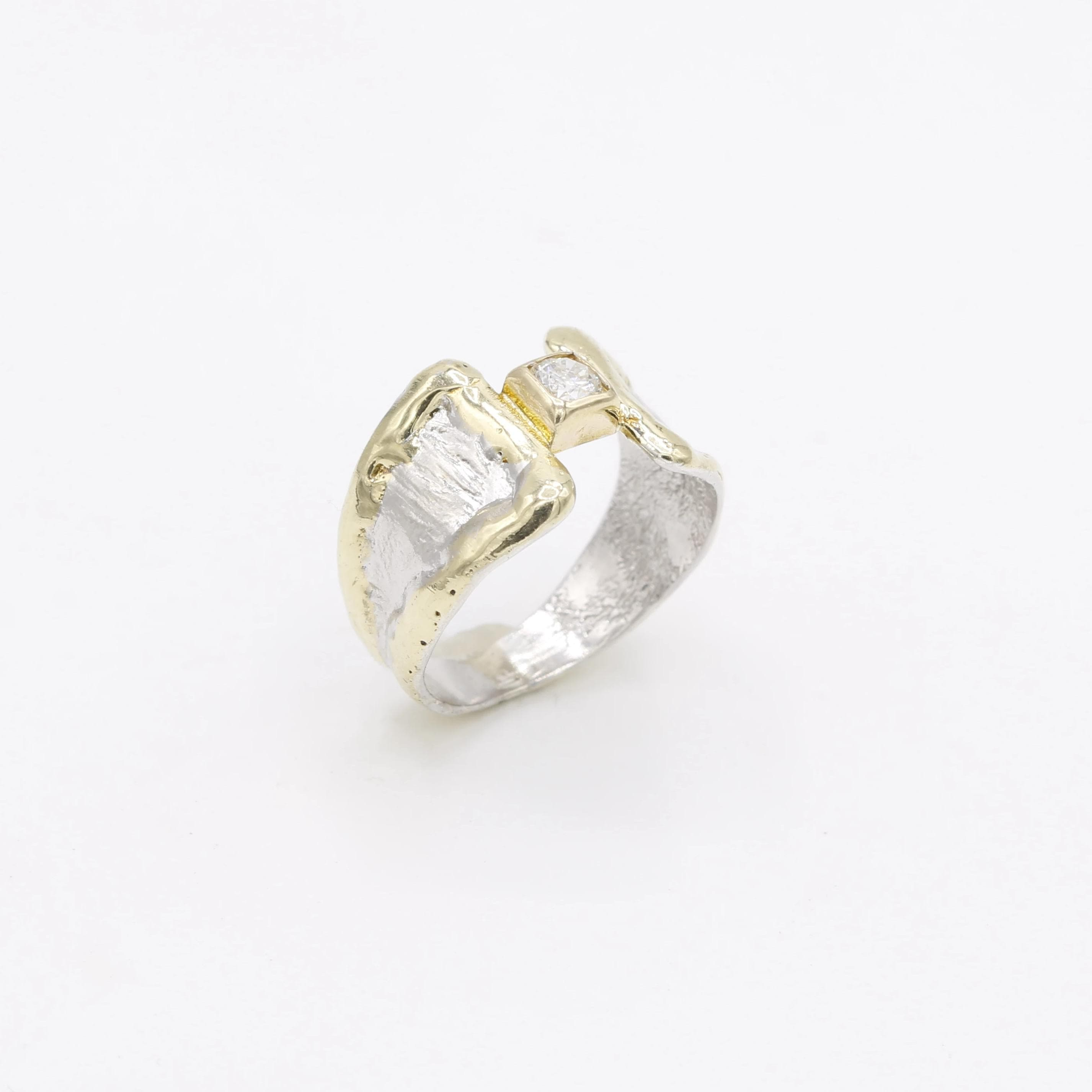 14K Gold & Crystalline Silver Diamond Ring - No Image - 30579-Fusion Designs-Renee Taylor Gallery