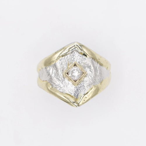14K Gold & Crystalline Silver Diamond Ring - 30580-Fusion Designs-Renee Taylor Gallery