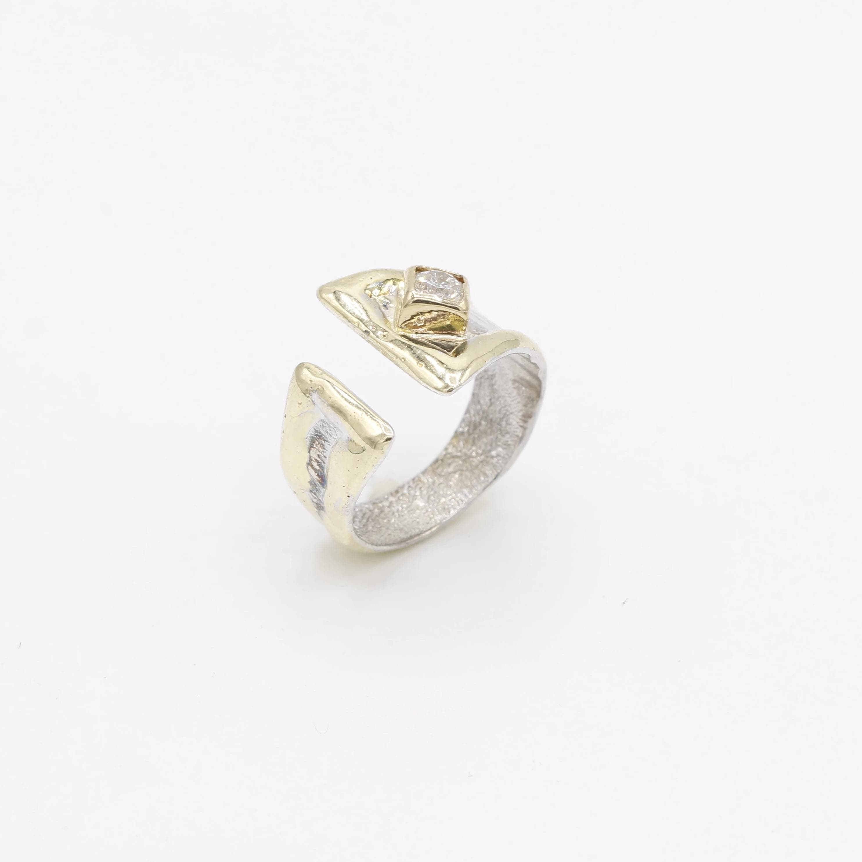 14K Gold & Crystalline Silver Diamond Ring - 30581-Fusion Designs-Renee Taylor Gallery