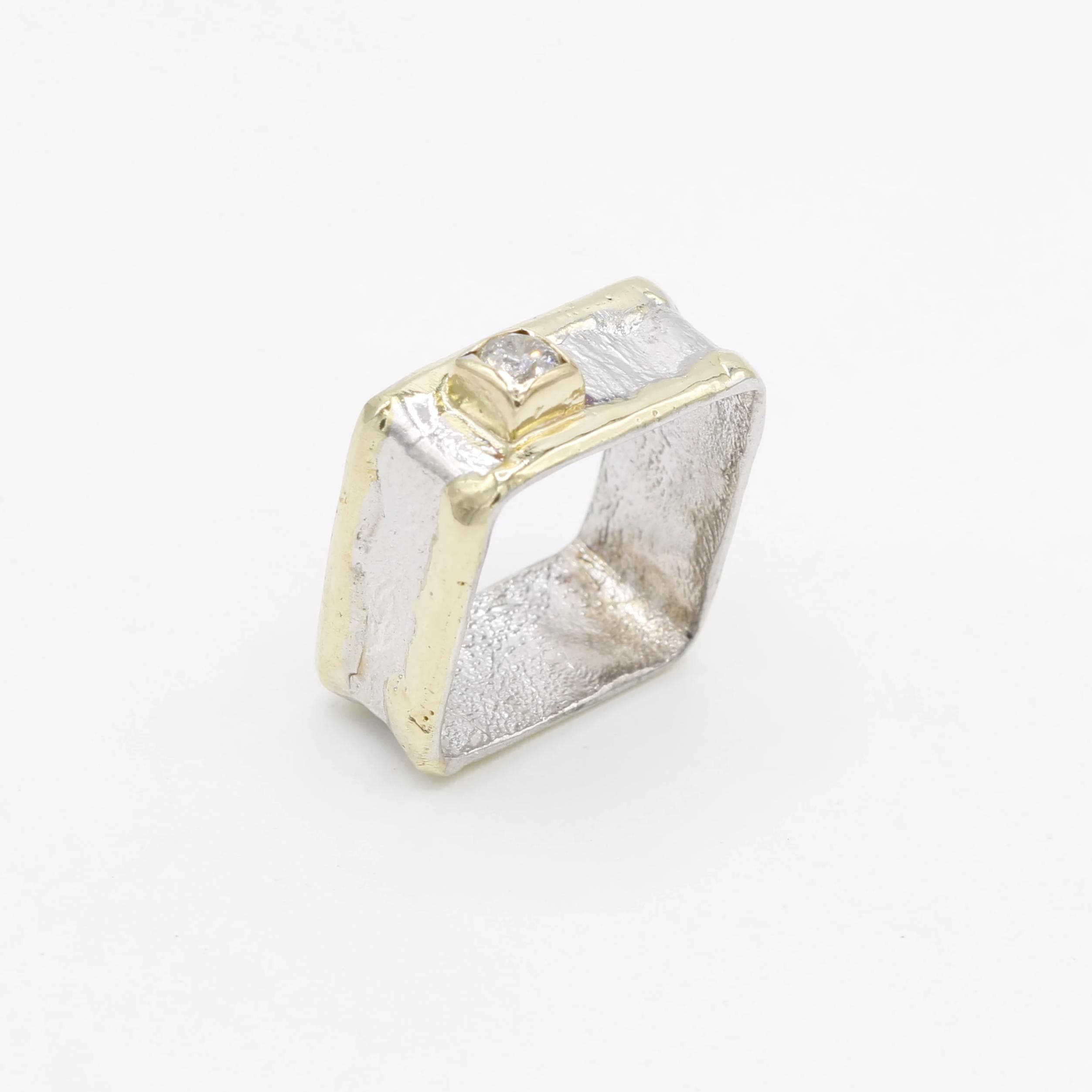 14K Gold & Crystalline Silver Diamond Ring - 30582-Fusion Designs-Renee Taylor Gallery