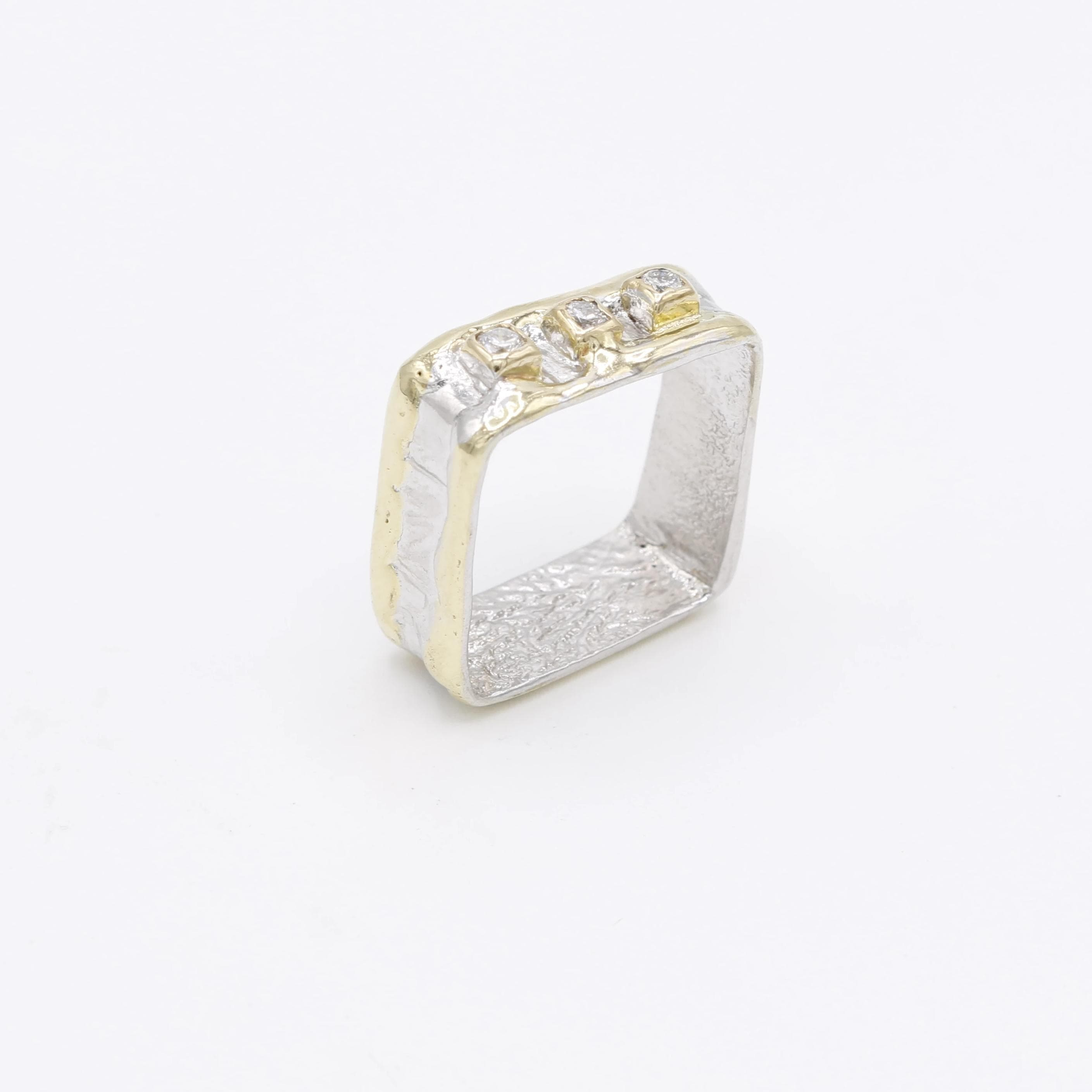 14K Gold & Crystalline Silver Diamond Ring - 30585-Fusion Designs-Renee Taylor Gallery