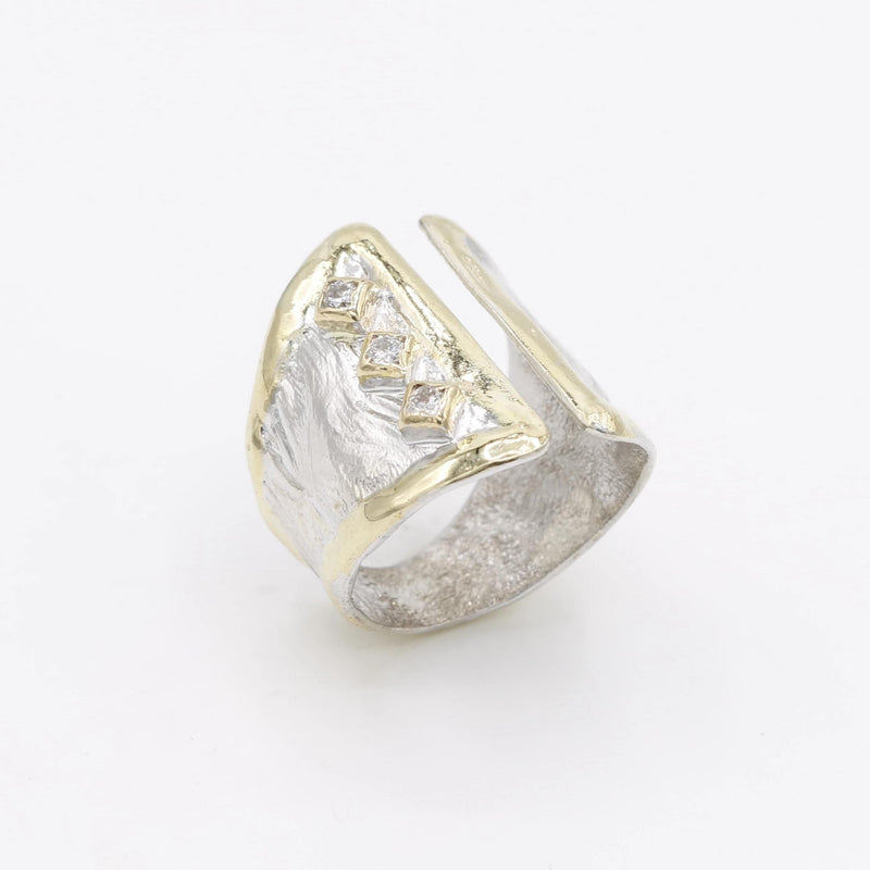 14K Gold & Crystalline Silver Diamond Ring - 30588-Fusion Designs-Renee Taylor Gallery
