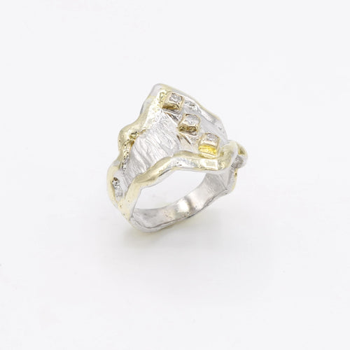 14K Gold & Crystalline Silver Diamond Ring - 30590-Fusion Designs-Renee Taylor Gallery