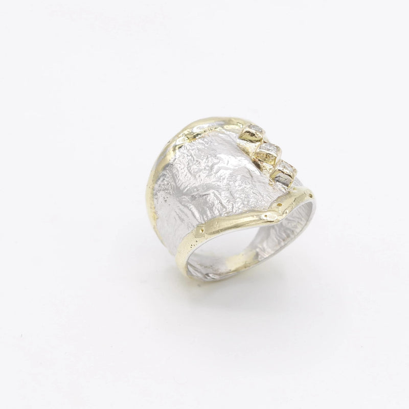14K Gold & Crystalline Silver Diamond Ring - 30591-Fusion Designs-Renee Taylor Gallery