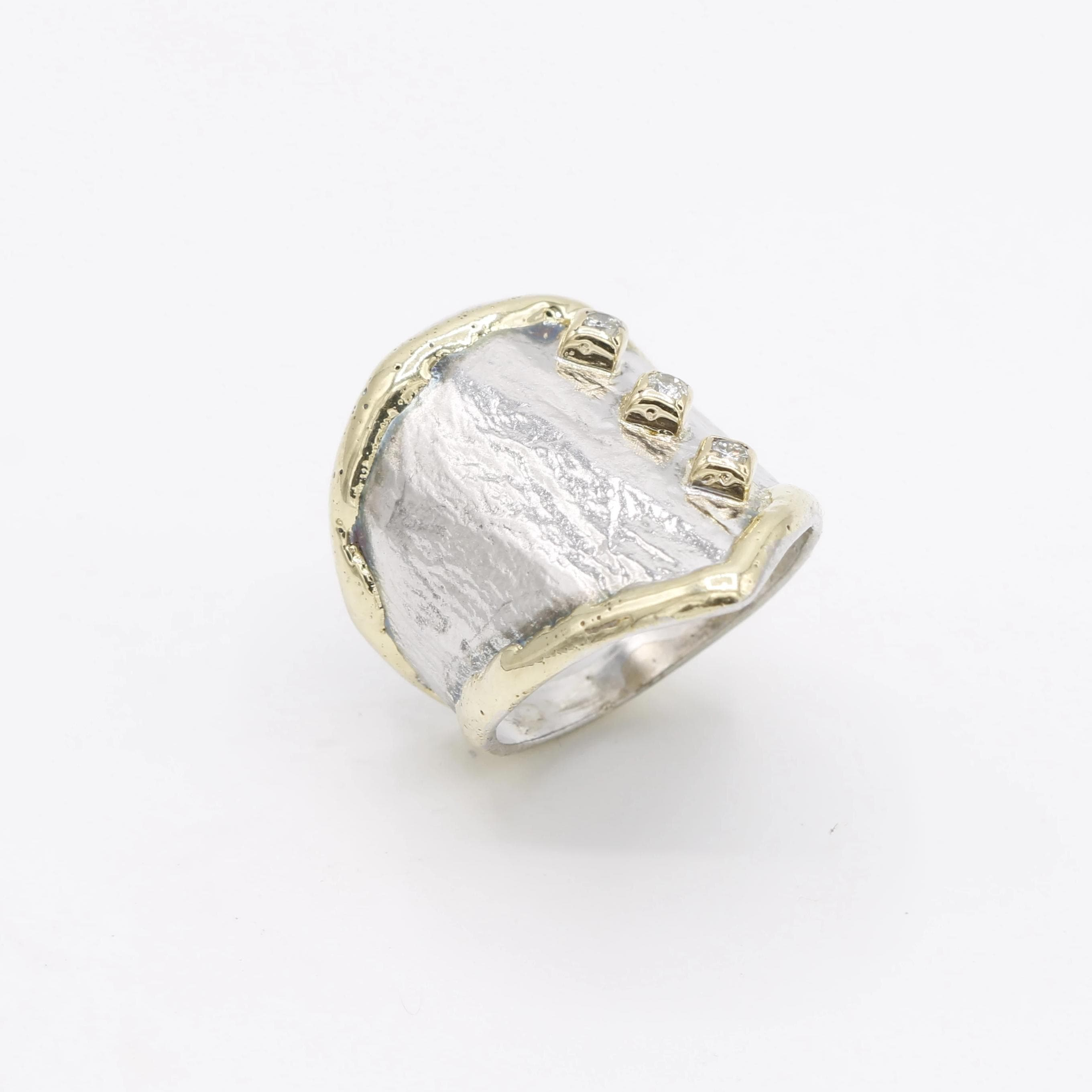 14K Gold & Crystalline Silver Diamond Ring - 30592-Fusion Designs-Renee Taylor Gallery