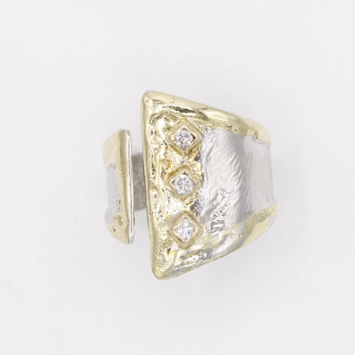 14K Gold & Crystalline Silver Diamond Ring - 30593-Fusion Designs-Renee Taylor Gallery