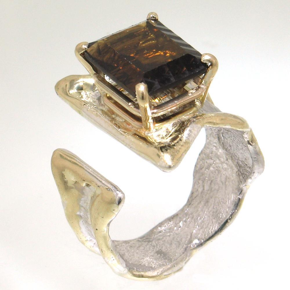 14K Gold & Crystalline Silver Cognac Quartz Ring - 30595-Fusion Designs-Renee Taylor Gallery