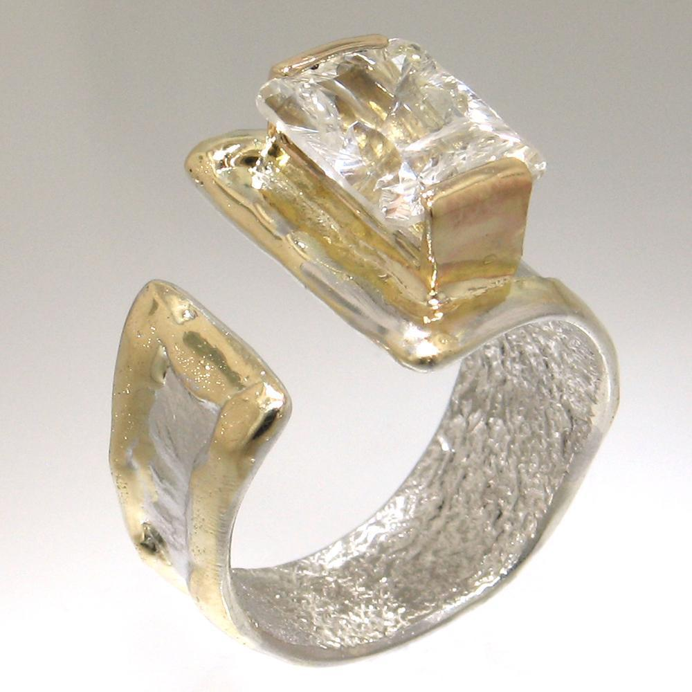14K Gold & Crystalline Silver White Topaz Ring - 30822