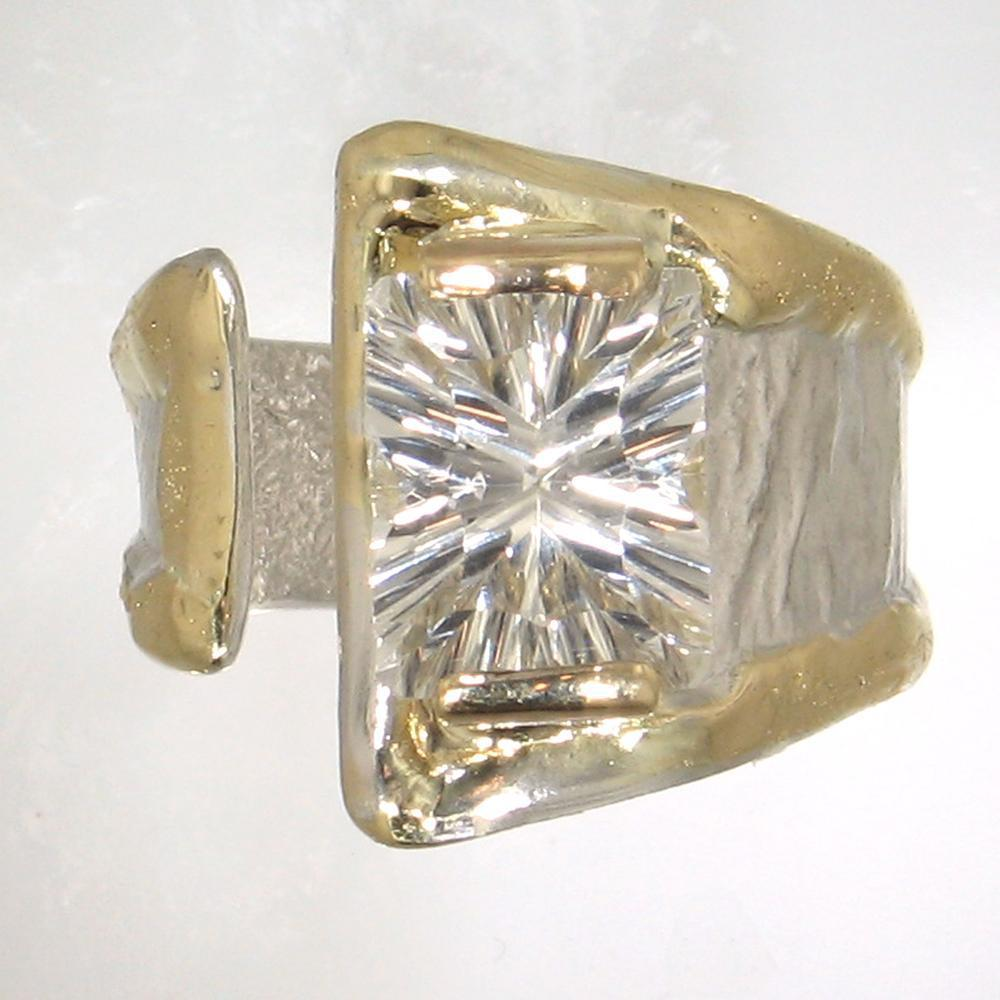 14K Gold & Crystalline Silver White Topaz Ring - 30822-Fusion Designs-Renee Taylor Gallery