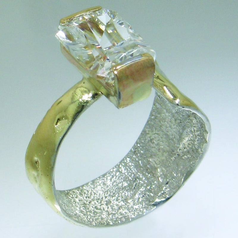14K Gold & Crystalline Silver White Topaz Ring - 30823-Fusion Designs-Renee Taylor Gallery
