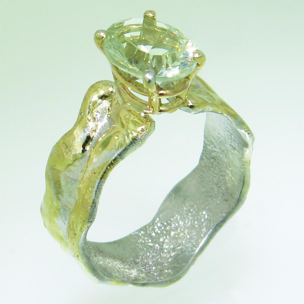 14K Gold & Crystalline Silver Prasiolite Ring - 30833-Fusion Designs-Renee Taylor Gallery