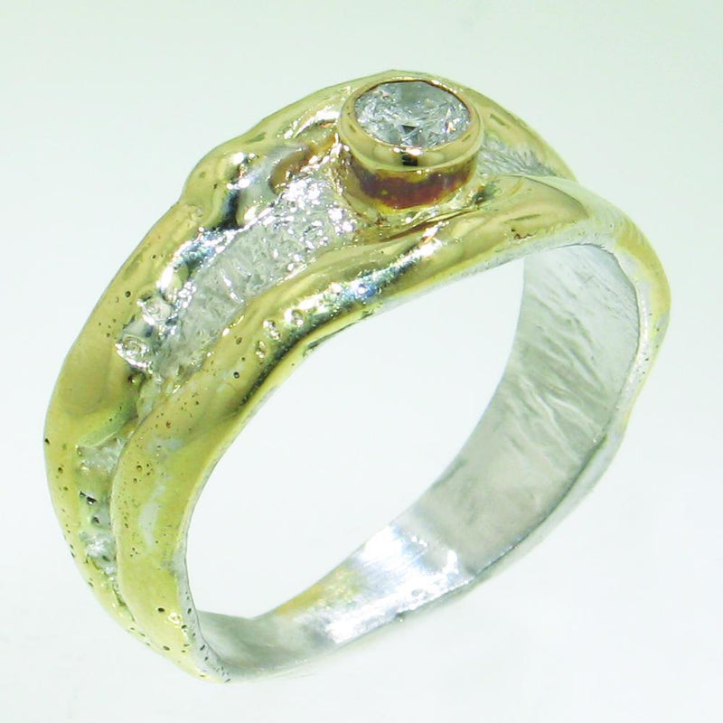 14K Gold & Crystalline Silver Diamond Ring - 30843-Fusion Designs-Renee Taylor Gallery
