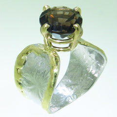 14K Gold & Crystalline Silver Smoky Quartz Ring - 31087-Fusion Designs-Renee Taylor Gallery