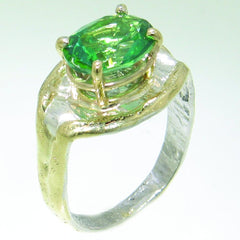 14K Gold & Crystalline Silver Rainforest Green Topaz Ring - 31092-Fusion Designs-Renee Taylor Gallery