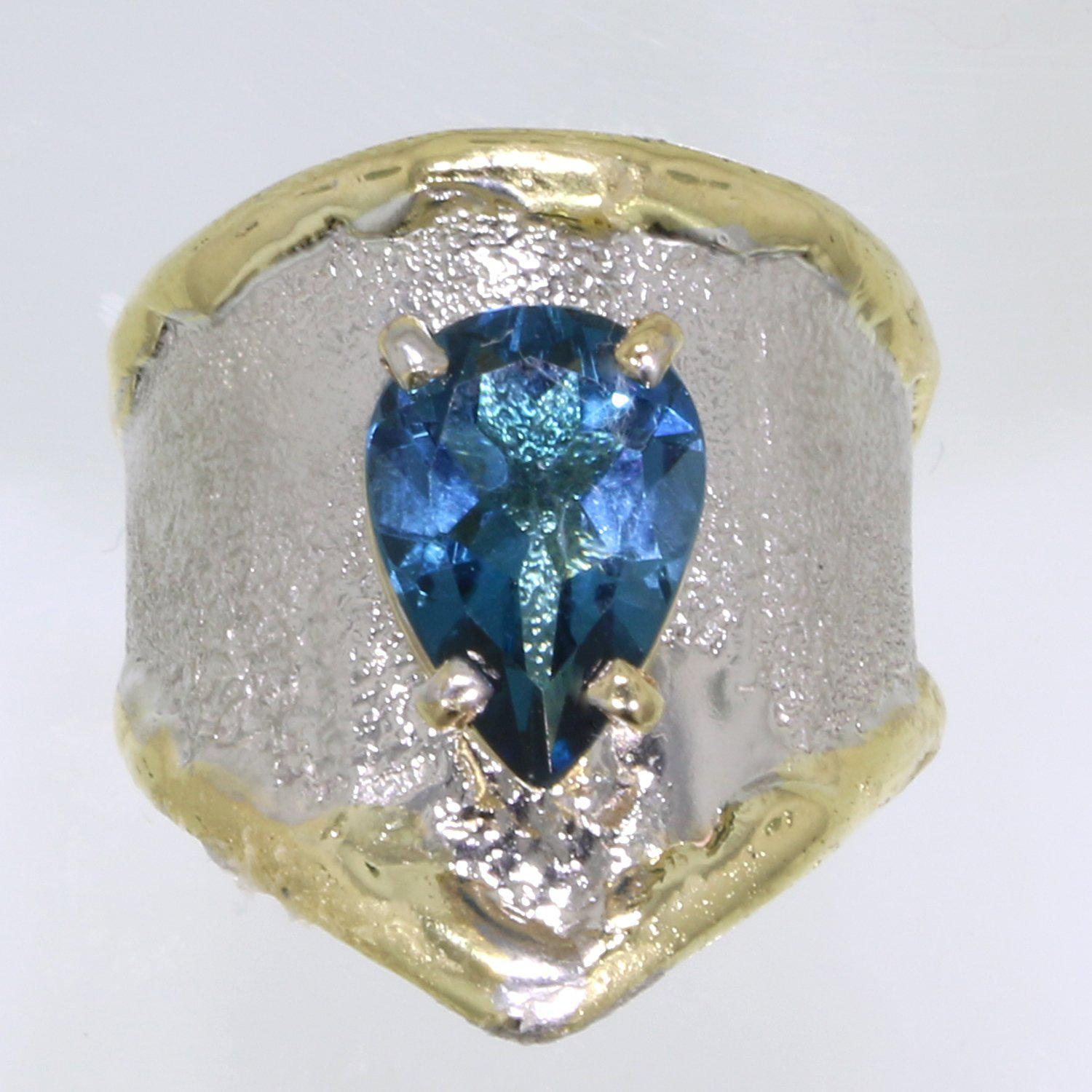 14K Gold & Crystalline Silver London Blue Topaz Ring - 31923-Fusion Designs-Renee Taylor Gallery
