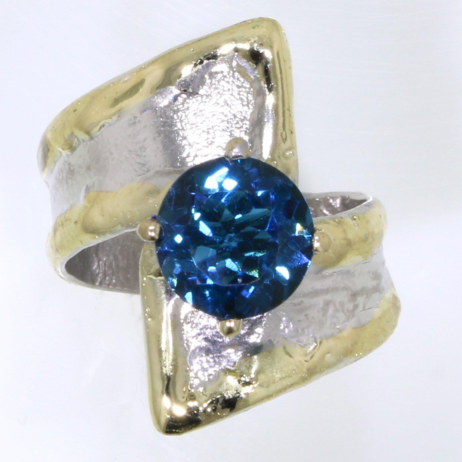 14K Gold & Crystalline Silver London Blue Topaz Ring - 31925-Fusion Designs-Renee Taylor Gallery