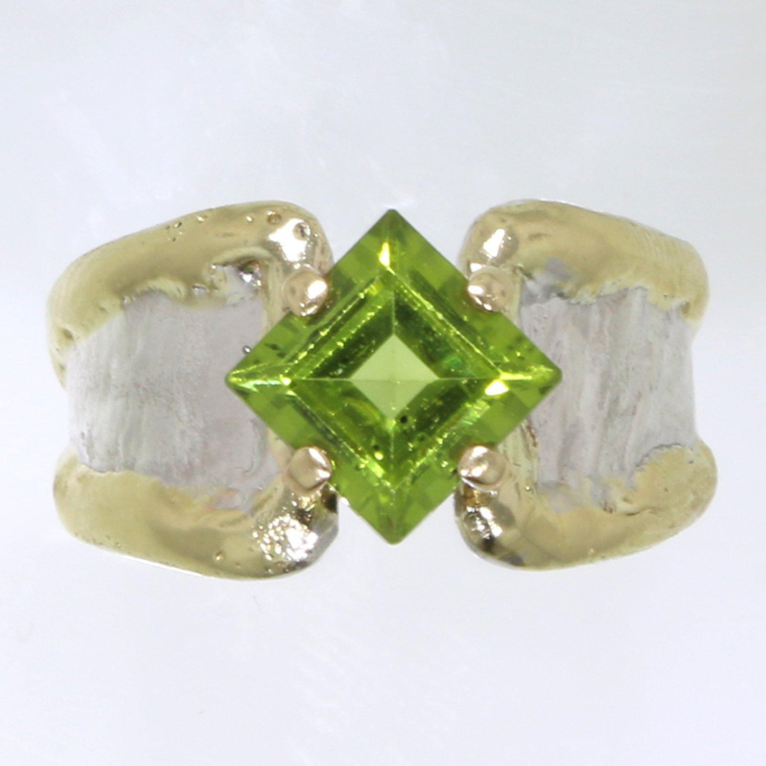 14K Gold & Crystalline Silver Peridot Ring - 31928-Fusion Designs-Renee Taylor Gallery