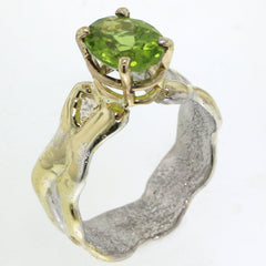 14K Gold & Crystalline Silver Peridot Ring - 31929-Fusion Designs-Renee Taylor Gallery