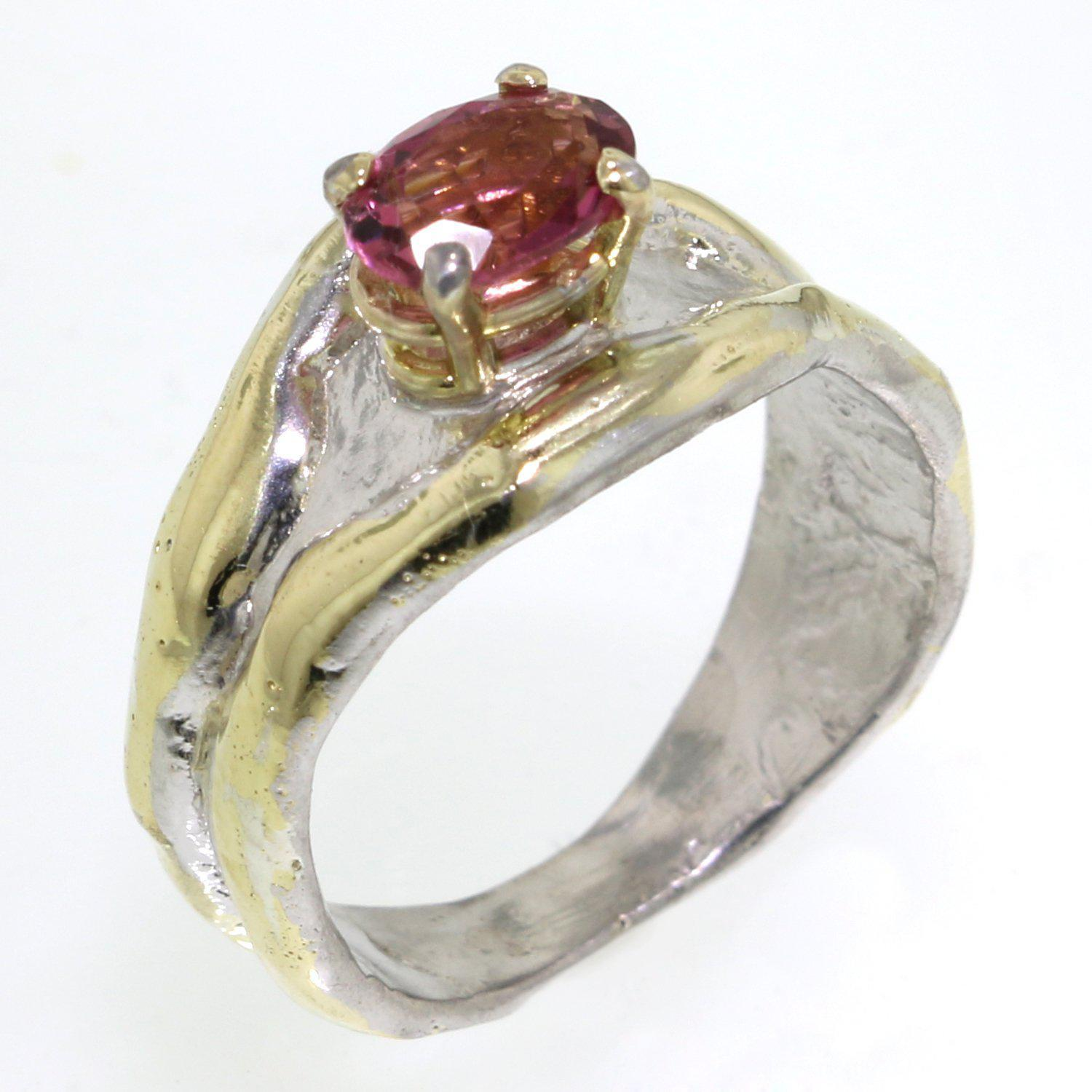 14K Gold & Crystalline Silver Pink Tourmaline Ring - 31932-Fusion Designs-Renee Taylor Gallery