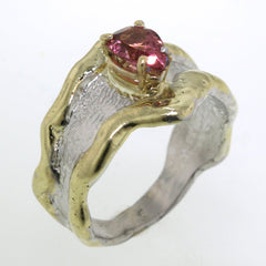14K Gold & Crystalline Silver Pink Tourmaline Ring - 31933-Fusion Designs-Renee Taylor Gallery