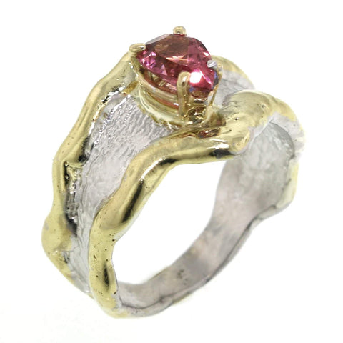 14K Gold & Crystalline Silver Pink Tourmaline Ring - 31934-Fusion Designs-Renee Taylor Gallery