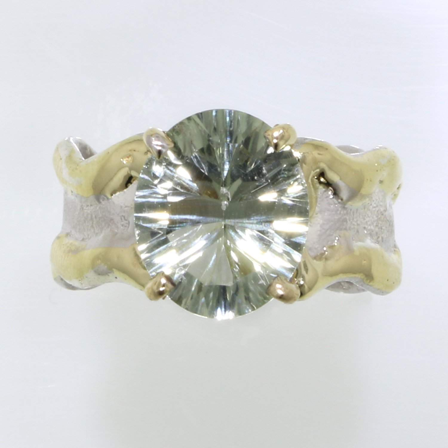 14K Gold & Crystalline Silver Prasiolite Ring - 31936-Fusion Designs-Renee Taylor Gallery