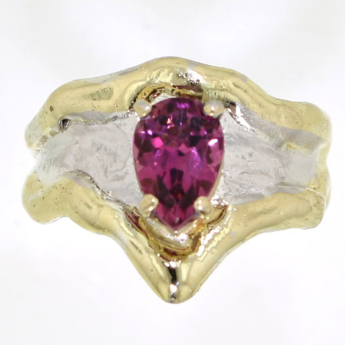 14K Gold & Crystalline Silver Pink Tourmaline Ring - 31965-Fusion Designs-Renee Taylor Gallery