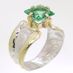 14K Gold & Crystalline Silver Rainforest Green Topaz Ring - 31966-Fusion Designs-Renee Taylor Gallery