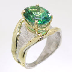 14K Gold & Crystalline Silver Rainforest Green Topaz Ring - 31968-Fusion Designs-Renee Taylor Gallery