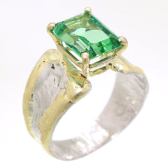 14K Gold & Crystalline Silver Rainforest Green Topaz Ring - 31969-Fusion Designs-Renee Taylor Gallery