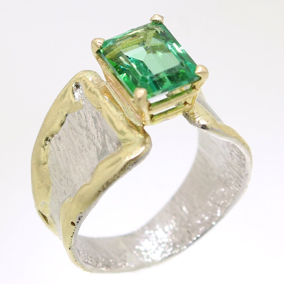 14K Gold & Crystalline Silver Rainforest Green Topaz Ring - 31970-Fusion Designs-Renee Taylor Gallery