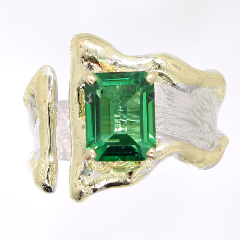 14K Gold & Crystalline Silver Rainforest Green Topaz Ring - 31971-Fusion Designs-Renee Taylor Gallery
