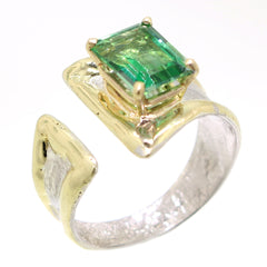 14K Gold & Crystalline Silver Rainforest Green Topaz Ring - 31972-Fusion Designs-Renee Taylor Gallery