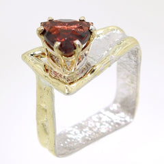 14K Gold & Crystalline Silver Garnet Ring - 31973-Fusion Designs-Renee Taylor Gallery
