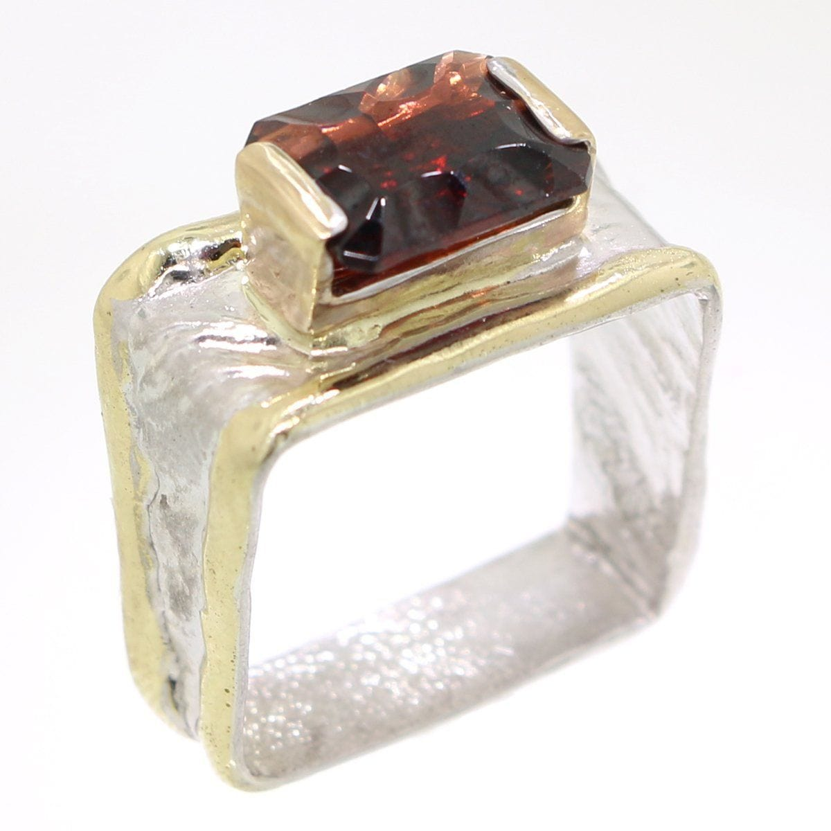 14K Gold & Crystalline Silver Garnet Ring - 31974-Fusion Designs-Renee Taylor Gallery