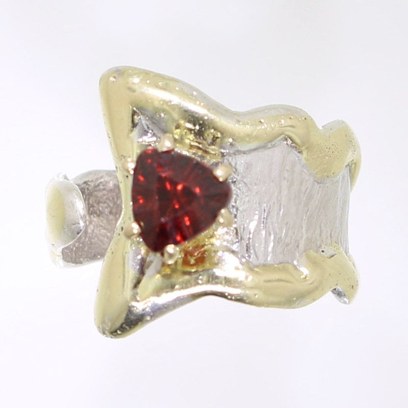 14K Gold & Crystalline Silver Garnet Ring - 31975-Fusion Designs-Renee Taylor Gallery