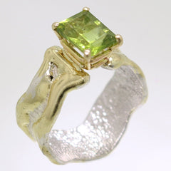 14K Gold & Crystalline Silver Peridot Ring - 31978-Fusion Designs-Renee Taylor Gallery