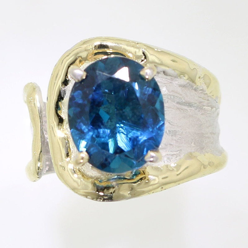 14K Gold & Crystalline Silver London Blue Topaz Ring - 31982-Fusion Designs-Renee Taylor Gallery