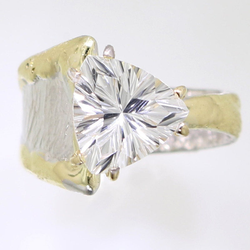 14K Gold & Crystalline Silver White Topaz Ring - 31986-Fusion Designs-Renee Taylor Gallery