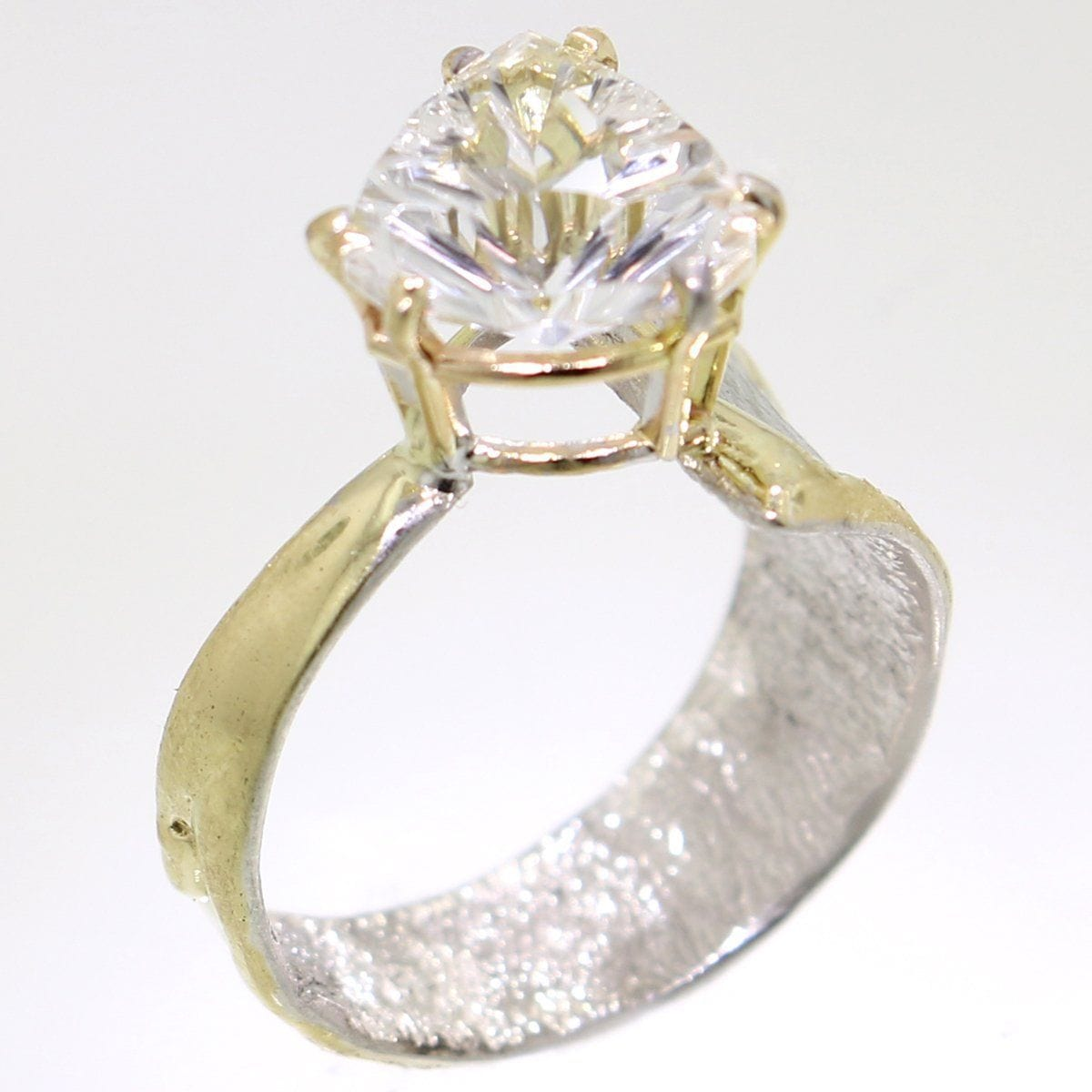 Crystalline Silvers: 14K Gold & Crystalline Silver White Topaz Ring
