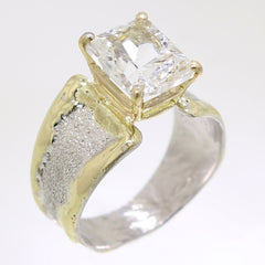 14K Gold & Crystalline Silver White Topaz Ring - 31987-Fusion Designs-Renee Taylor Gallery