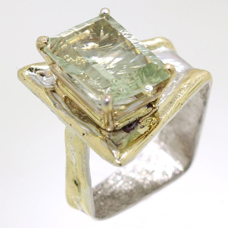 14K Gold & Crystalline Silver Prasiolite Ring - 31988-Fusion Designs-Renee Taylor Gallery