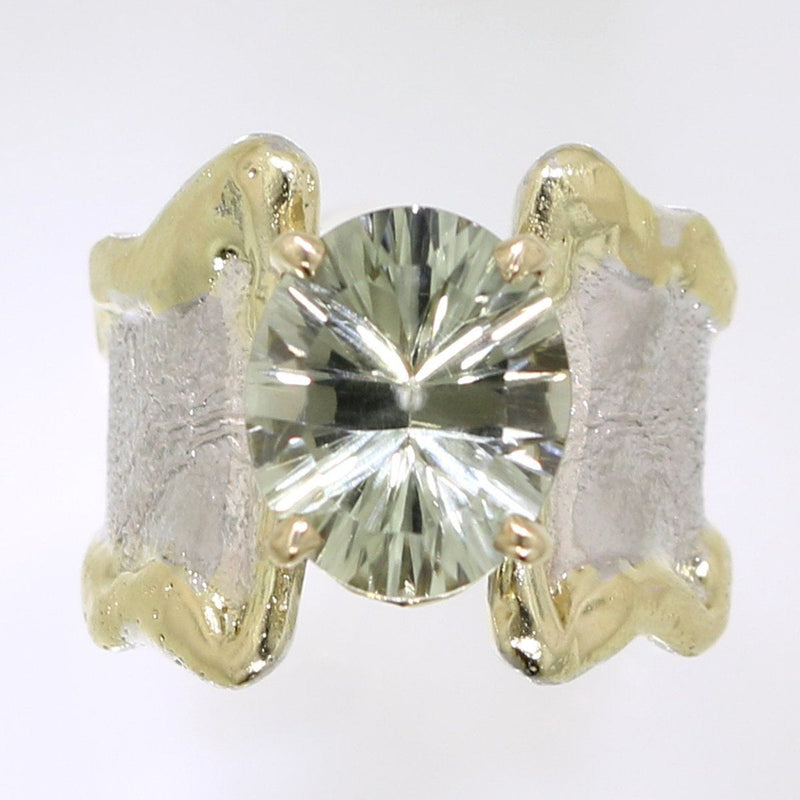 14K Gold & Crystalline Silver Prasiolite Ring - 31989-Fusion Designs-Renee Taylor Gallery