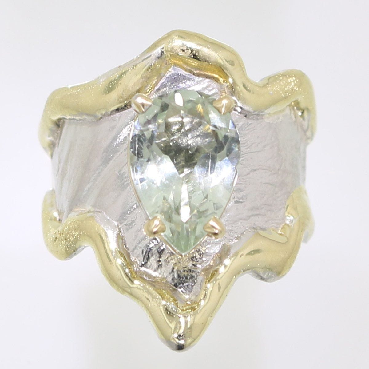 14K Gold & Crystalline Silver Prasiolite Ring - 31990-Fusion Designs-Renee Taylor Gallery