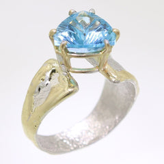 14K Gold & Crystalline Silver Blue Topaz Ring - 31991-Fusion Designs-Renee Taylor Gallery